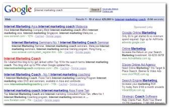 Internet Marketing Coach #2 in Google.com