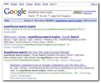 superfluous search engine #1 rednano.sg