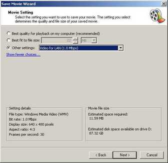 Windows Movie Maker high quality video settings