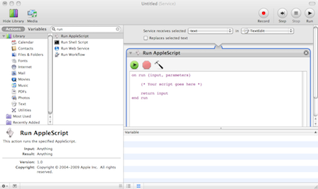 Step 6: Drag Run Application action into the workflow area