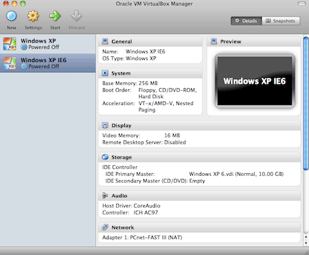 Virtualbox with clone copies of Win XP