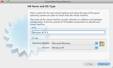VirtualBox Manager - Select VM Name and OS Type