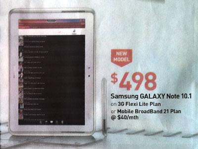 Singtel Galaxy Note 10.1 price