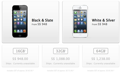 iPhone 5 Prices in Singapore