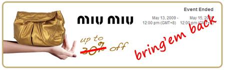 Miu Miu bags promotion