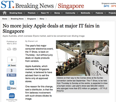 No Apple deals at IT fairs - The Strait Times, 6 Mar 2012