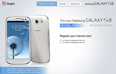 Galaxy S3 Pre-order at Singtel