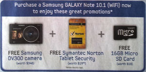Galaxy Note 10.1 WiFi freebies
