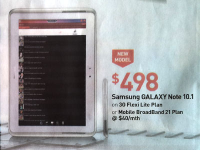 Singtel Galaxy Note 10.1 price